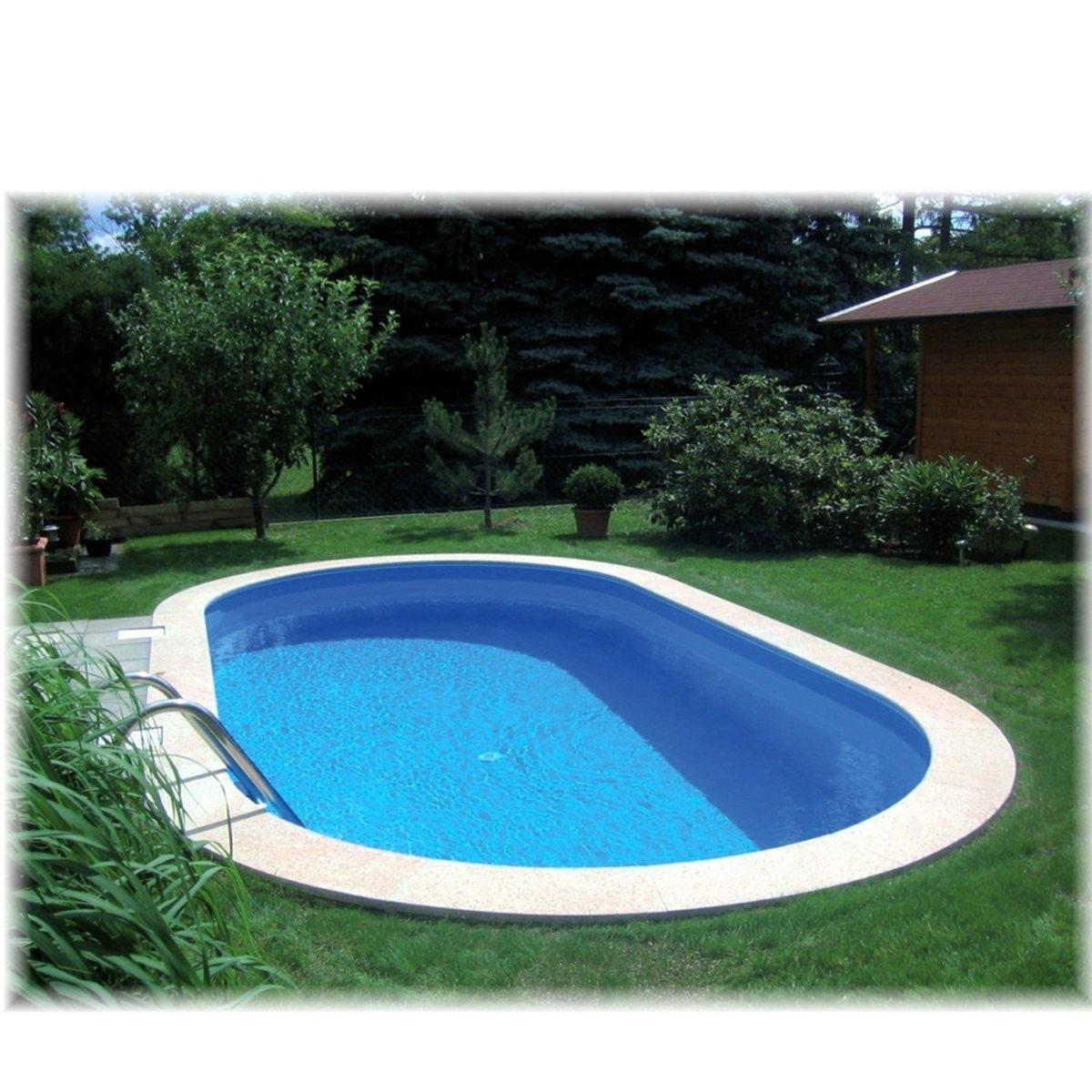 Stahlwandbecken oval 20 cm tief   20 x 20 cm   Schwimmbecken   Pool